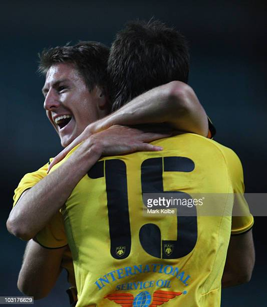 Neithan Burns of Athens celebrates scoring a goal during the preseason friendly match between AEK Athens FC and Glasgow Rangers at the Sydney...