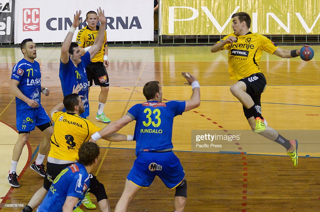 Nejc Cehte trying to get passed the defence Team Celje won the National Cup for the 18th time in their history Team Celje won the final match by a...
