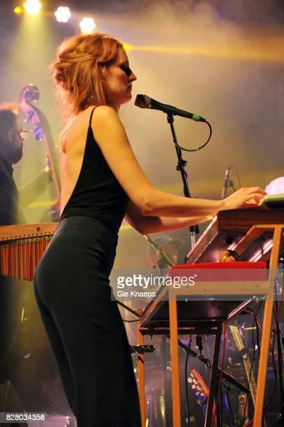 Nel Ponsaers performing with Belgian singersongwriter Stef Kamil Carlens at the Linkerwoofer Festival Antwerpen Linkeroever Belgium 4th August 2017