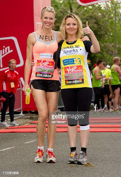 Nell McAndrew and Charlie Brooks attend the celebrity start of the 2011 Virgin London Marathon at Blackheath on April 17 2011 in London England