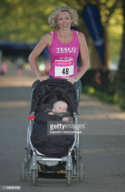 Nell McAndrew and Son Devon during Paula Radcliffe and Nell McAndrew Support Race for Life Photocall at Battersea Park in London Great Britain