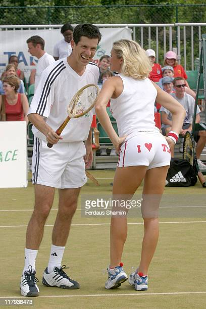 Nell McAndrew and Tim Henman during Ariel Tennis Ace Finals Day at Wimbeldon Tennis Courts London in London Great Britain
