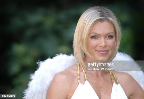 Nell McAndrew dressed from head to toe in white and sporting angel wings launches new Riceworks Gourmet Brown Rice Chips at the Savoy Chapel Gardens...