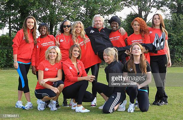 Nell McAndrew Melanie Chisholm Richard Branson Liz Locke Michelle Heaton Olivia Hallinan Vida Tameka Empson and Chloe Madeley pose as part of the...