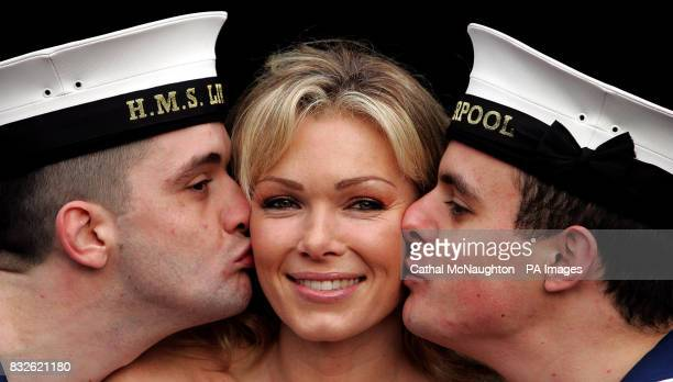 Nell McAndrew pictured with crewmen from HMS Liverpool at Regents Park Barracks central London where the last of 25000 gift boxes 'square stockings'...