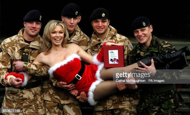 Nell McAndrew pictured with members of the Worcesters and Foresters battalion at Regents Park Barracks central London where the last of 25000 gift...