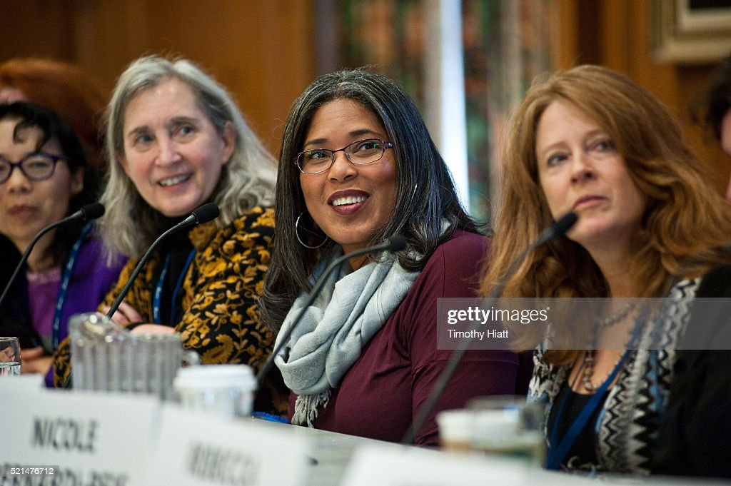 Nell Minow Darrien Gipson and Marcina Hale attend the Women In Film panel at the 2016 Ebertfest on April 15 2016 in Champaign Illinois