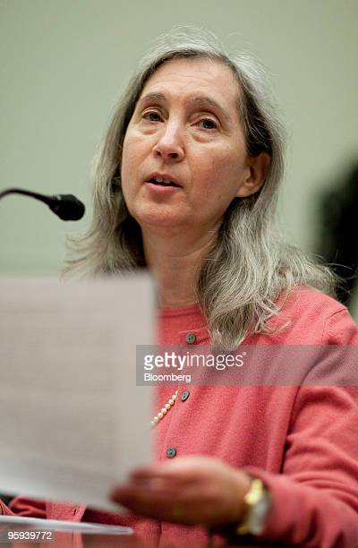Nell Minow editor and founder of the Corporate Library speaks during a House Financial Services Committee hearing on compensation practices at...