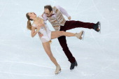Nelli Zhiganshina and Alexander Gazsi of Germany compete in the Figure Skating Team Ice Dance Short Dance during day one of the Sochi 2014 Winter...