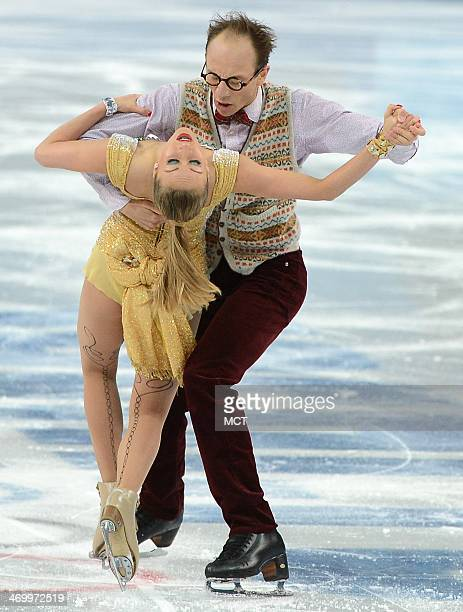 Nelli Zhiganshina and Alexaner Gazsi of Germany perform their free dance during the ice dancing competition at the Iceberg Skating Palace during the...