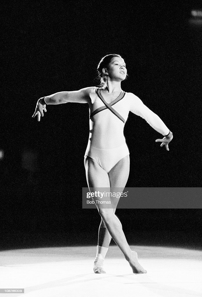 Nellie Kim of the USSR during a Gymnastics display at the Wembley Arena in London, circa November 1980.