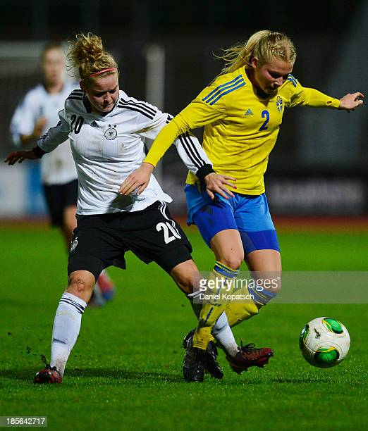 Nellie Ohlsson of Sweden is challenged by Janina Meissner of Germany during the women's U19 international friendly match between Germany and Sweden...