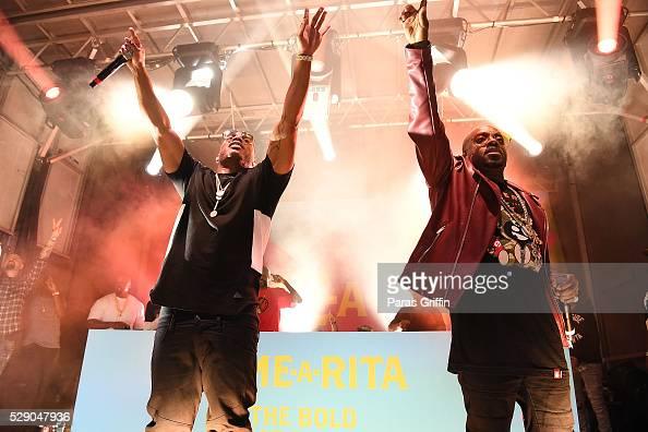 Nelly and Jermaine Dupri perform onstage at LimeARita Atlanta Cinco Saturday at Big Sky Buckhead on May 7 2016 in Atlanta Georgia
