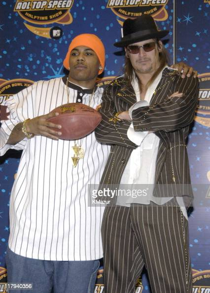 Nelly and Kid Rock during The AOL TopSpeed Super Bowl XXXVIII Halftime Show Produced by MTV Press Conference at George Brown Convention Center in...