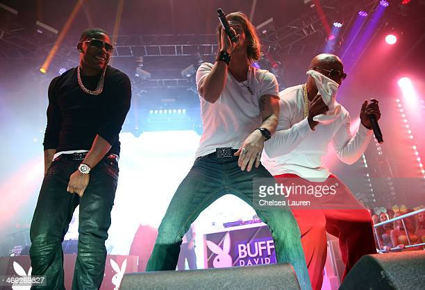 Nelly and Tyler Hubbard perform during The Playboy Party at The Bud Light Hotel Lounge on Friday January 31 2014 in New York City