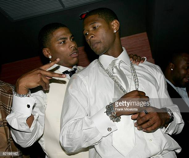 Nelly and Usher dance at Usher's Private Grammy Party hosted by Entertainment Weekly held at the Geisha House on February 13 2005 in Hollywood...