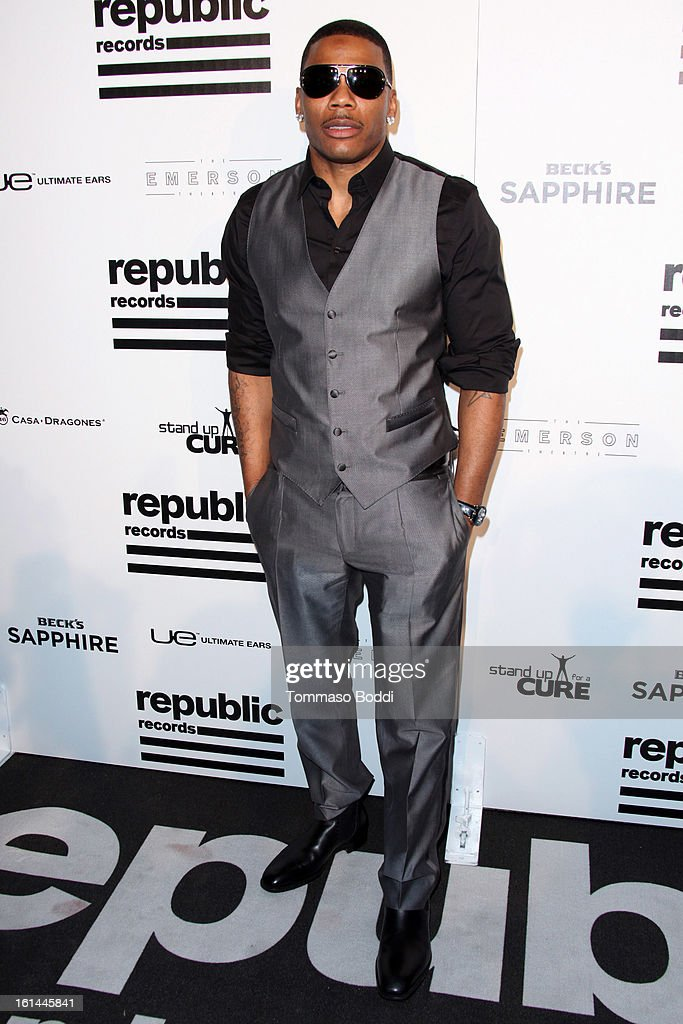 <a gi-track='captionPersonalityLinkClicked' href=/galleries/search?phrase=Nelly+-+Rapper&family=editorial&specificpeople=11499081 ng-click='$event.stopPropagation()'>Nelly</a> attends the Republic Records post GRAMMY party held at The Emerson Theatre on February 10, 2013 in Hollywood, California.