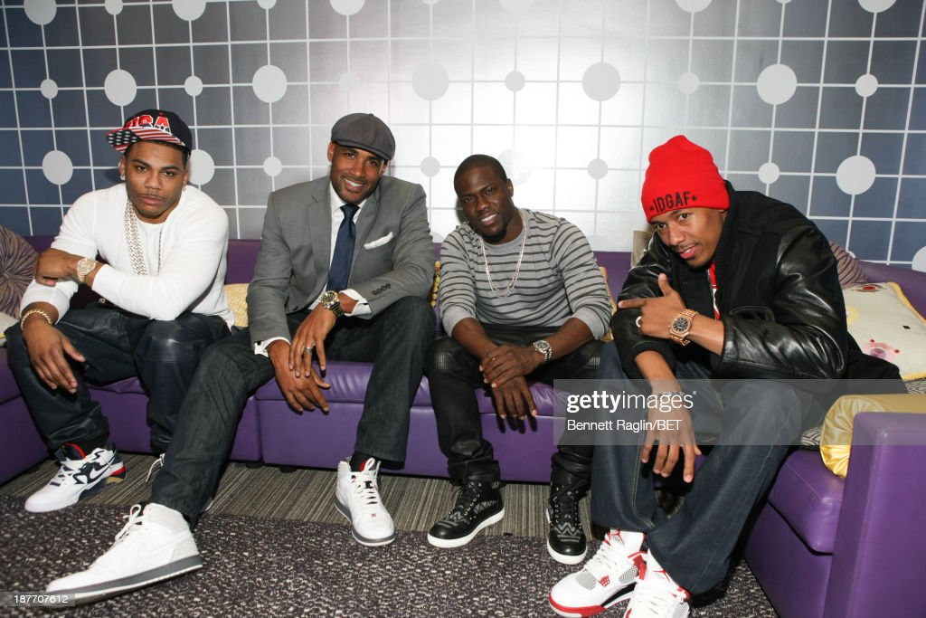 Nelly, <a gi-track='captionPersonalityLinkClicked' href=/galleries/search?phrase=Boris+Kodjoe&family=editorial&specificpeople=240156 ng-click='$event.stopPropagation()'>Boris Kodjoe</a>, Kevin Hart, and <a gi-track='captionPersonalityLinkClicked' href=/galleries/search?phrase=Nick+Cannon&family=editorial&specificpeople=202208 ng-click='$event.stopPropagation()'>Nick Cannon</a> visit 106 & Park at 106 & Park studio on November 11, 2013 in New York City.