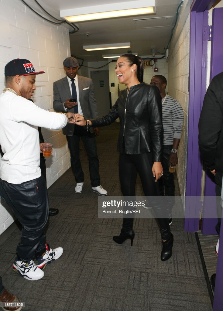 Nelly, Cynthia Kaye McWilliams, and Kevin Hart visit 106 & Park at 106 & Park studio on November 11, 2013 in New York City.
