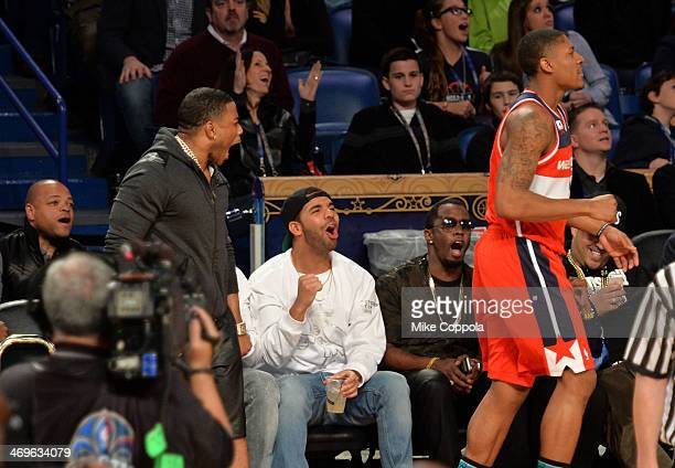 Nelly Drake and Sean Combs attend the State Farm AllStar Saturday Night during the NBA AllStar Weekend 2014 at The Smoothie King Center on February...