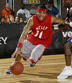 Nelly drives to the basket during the Jeep celebrity 3 on 3 game on February 9 2003 at the NBA All Star 2003 Jam Session in Atlanta Georga