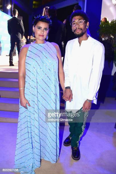 Nelly Furtado and Gerard Long II attend the cocktail for the inaugural 'MonteCarlo Gala for the Global Ocean' honoring Leonardo DiCaprio at the...