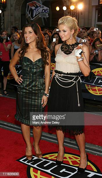 Nelly Furtado and Paris Hilton during 17th Annual MuchMusic Video Awards Red Carpet at Chum City Building in Toronto Ontario Canada