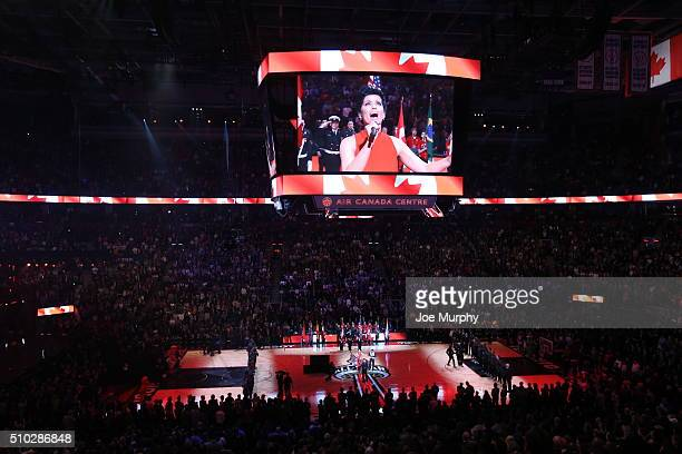 Nelly Furtado performs the national anthem before the game between the Eastern Conference and the Western Conference during the 2016 NBA AllStar Game...