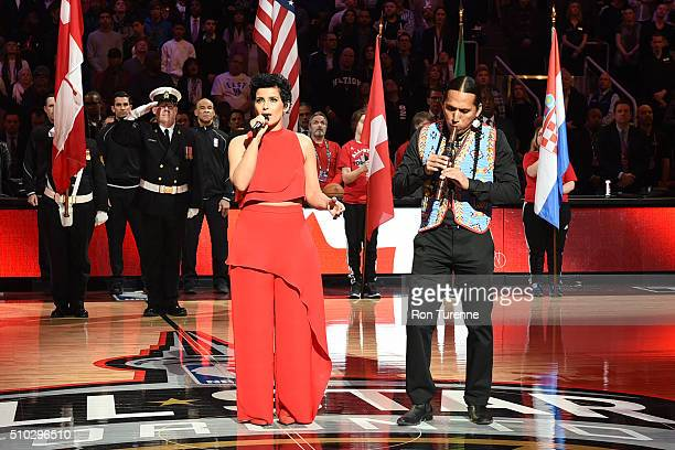Nelly Furtado sings the Canadian National Anthem before the 2016 NBA AllStar Game on February 14 2016 at the Air Canada Centre in Toronto Ontario...
