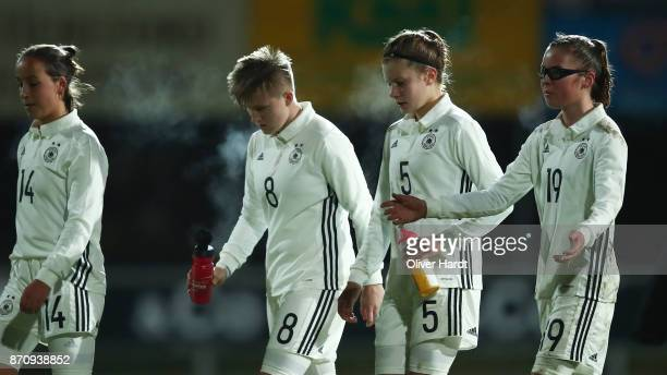 LR Nelly JuckelPaula KlensmannEmilie Bernhardt and Julia Pollak of Germany appears frustrated during the U16 Girls international friendly match...