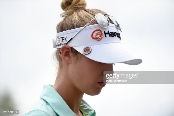 Nelly Korda checks in at the 1st tee during the final round of the LPGA Marathon Classic at Highland Meadows Golf Club on July 23 2017 in Sylvania OH