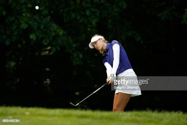 Nelly Korda chips to the sixth green during the final round of the LPGA Volvik Championship on May 28 2017 at Travis Pointe Country Club Ann Arbor...
