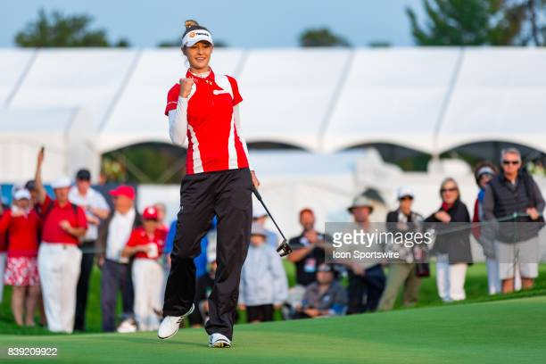 Nelly Korda gives a celebratory fist pump after sinking a putt on the 9th hole during the second round of the Canadian Pacific Women's Open on August...