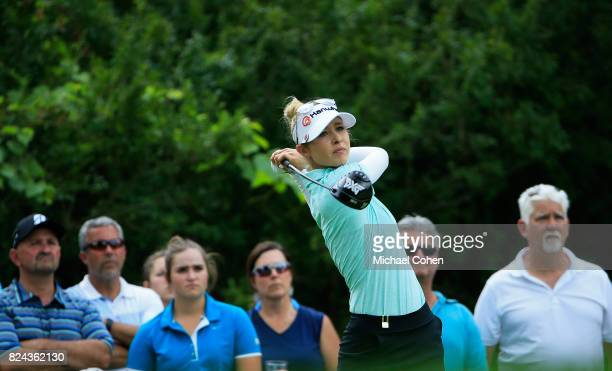 Nelly Korda hits a drive during the fourth and final round of the Marathon Classic Presented By Owens Corning And OI held at Highland Meadows Golf...
