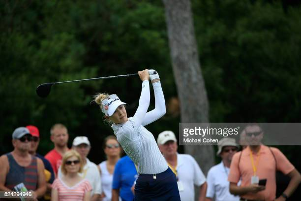 Nelly Korda hits a drive during the third round of the Marathon Classic Presented By Owens Corning And OI held at Highland Meadows Golf Club on July...