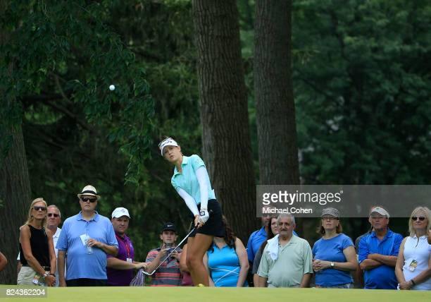Nelly Korda hits a pitch shot during the fourth and final round of the Marathon Classic Presented By Owens Corning And OI held at Highland Meadows...
