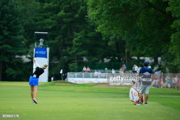 Nelly Korda hits a shot from the fairway during the first round of the Marathon Classic Presented By Owens Corning And OI held at Highland Meadows...