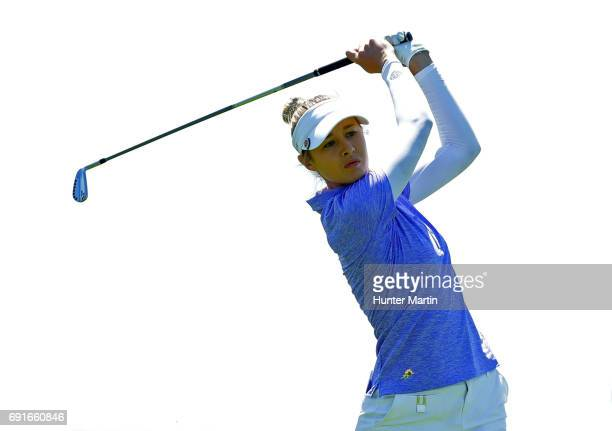 Nelly Korda hits her second shot on the third hole during the first round of the ShopRite LPGA Classic presented by Acer on the Bay Course at...