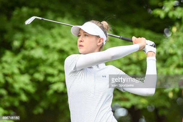 Nelly Korda hits her tee shot on the 12th hole during the second round of the Meijer LPGA Classic on June 16 2017 at the Blythefield Country Club in...