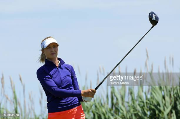 Nelly Korda hits her tee shot on the third hole during the second round of the ShopRite LPGA Classic presented by Acer on the Bay Course at Stockton...