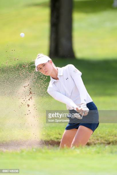 Nelly Korda hits out of a green side bunker on the 1st hole during the second round of the Meijer LPGA Classic on June 16 2017 at the Blythefield...
