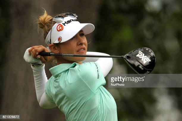Nelly Korda of Bradenton Florida follows her shot from the 3rd tee during the final round of the Marathon LPGA Classic golf tournament at Highland...
