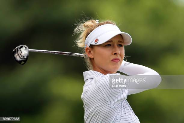 Nelly Korda of Bradenton Florida follows her shot off the 5th tee during the second round of the Meijer LPGA Classic golf tournament at Blythefield...