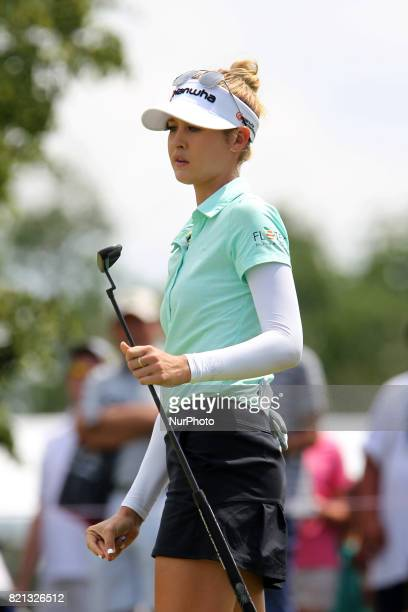 Nelly Korda of Bradenton Florida reacts after putting on the 9th green during the final round of the Marathon LPGA Classic golf tournament at...
