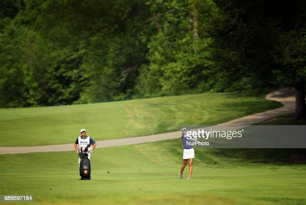 Nelly Korda of Florida hits her fairway shot toward the 4th green during the final round of the LPGA Volvik Championship at Travis Pointe Country...