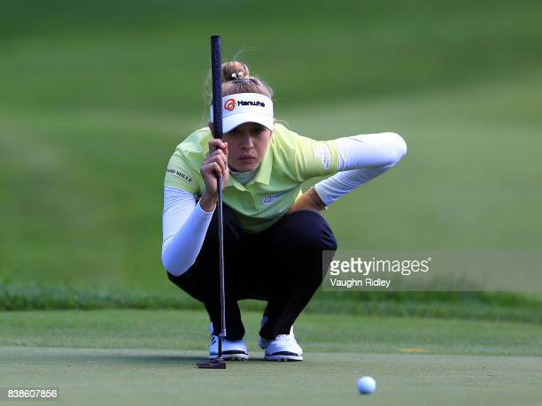 Nelly Korda of the United States eyes up a putt on the 7th green during round one of the Canadian Pacific Women's Open at the Ottawa Hunt Golf Club...