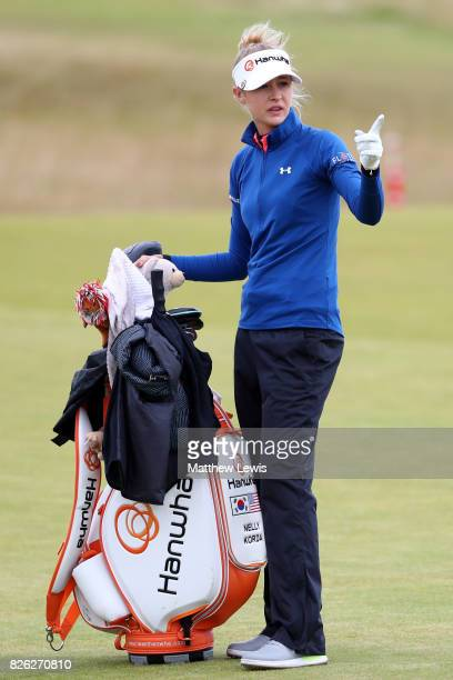 Nelly Korda of the United States gestures during the second round of the Ricoh Women's British Open at Kingsbarns Golf Links on August 4 2017 in...