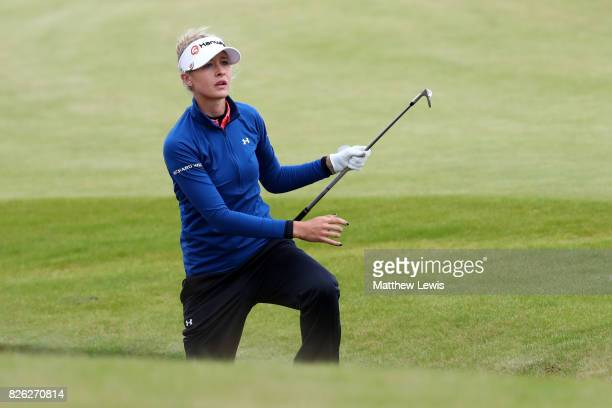 Nelly Korda of the United States hits her second shot on the 4th hole during the second round of the Ricoh Women's British Open at Kingsbarns Golf...