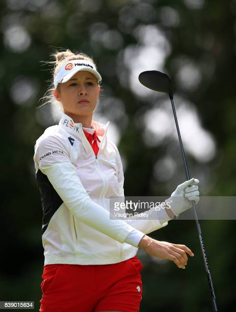 Nelly Korda of the United States hits her tee shot on the 11th hole during round two of the Canadian Pacific Women's Open at the Ottawa Hunt Golf...