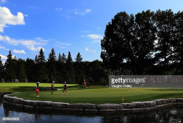 Nelly Korda of the United States hits her tee shot on the 13th hole during the final round of the Canadian Pacific Women's Open at the Ottawa Hunt...
